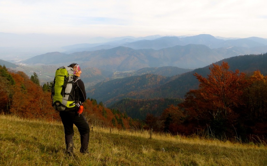 Pausing on a backpacking trip